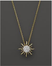 Bloomingdale's - Diamond Sun Pendant Necklace In 14k Yellow Gold, .10 Ct. T.w. - Lyst