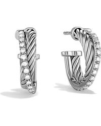 David Yurman - Crossover Extra Small Hoop Earrings With Diamonds - Lyst