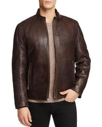 Andrew Marc - Leather Jacket Lined With Faux Shearling - Lyst