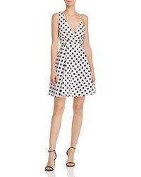 Aqua - Polka-dot Print Asymmetric Fit-and-flare Dress - Lyst