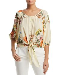 Status By Chenault - Floral-print Tie-waist Top - Lyst
