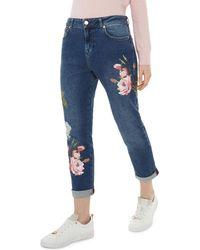 Ted Baker - Khlowe Floral Embroidered Boyfriend Jeans In Dark Blue - Lyst