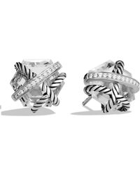 David Yurman - Cable Wrap Earrings With Diamonds - Lyst