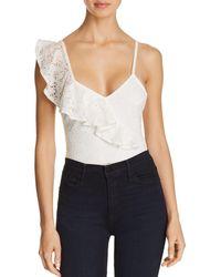 Sam Edelman - Asymmetric Ruffle Lace Bodysuit - Lyst