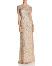 Adrianna Papell - Off - The - Shoulder Sequined Gown - Lyst