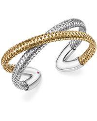 Roberto Coin - 18k White And Yellow Gold Primavera Cross Cuff Bracelet - Lyst