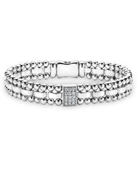 Lagos - Sterling Silver Caviar Spark Diamond Rectangle Link Bracelet - Lyst
