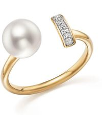 Bloomingdale's - Cultured Freshwater Pearl And Diamond Bar Bypass Ring In 14k Yellow Gold - Lyst