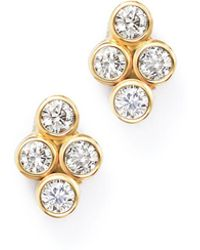 Zoe Chicco | 14k Yellow Gold Quad Bezel Diamond Stud Earrings | Lyst