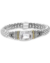 Lagos - 18k Gold And Sterling Silver Caviar Colour Bracelet With White Topaz - Lyst