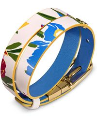 Tory Burch - Reversible Floral Print Leather Wrap Bracelet - Lyst