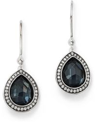 Ippolita - Stella Teardrop Earrings In Hematite Doublet With Diamonds In Sterling Silver - Lyst