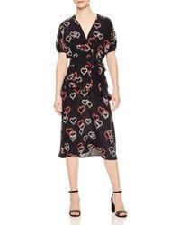 Sandro - Eclat Ruffled Floral-print Silk Midi Dress - Lyst