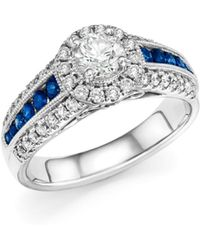 Bloomingdale's - Diamond And Blue Sapphire Engagement Ring In 14k White Gold - Lyst