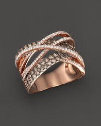 Bloomingdale's - Brown And White Diamond Crossover Ring In 14k Rose Gold - Lyst