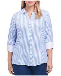 Foxcroft - Three-quarter-sleeve Striped Shirt - Lyst