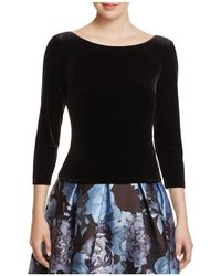 Eliza J - Three-quarter Sleeve Velvet Top - Lyst