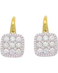Frederic Sage - Diamond Medium Firenze Cushion Earrings In 18k Yellow & White Gold - Lyst
