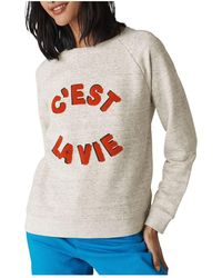 7b0287392fcd Lyst - Whistles Mais Oui Stripe Sweatshirt in Black