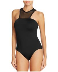 Carmen Marc Valvo - Sporty High Neck One Piece Swimsuit - Lyst