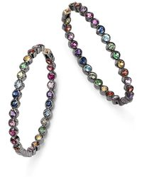 Shebee - Blackened Sterling Silver & Multicolor Sapphire Inside-out Oval Hoop Earrings - Lyst