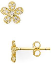 Aqua - Pavé Flower Stud Earrings - Lyst