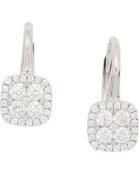 Frederic Sage - 18k White Gold Diamond Firenze Small Cushion Polished Bale Earrings - Lyst