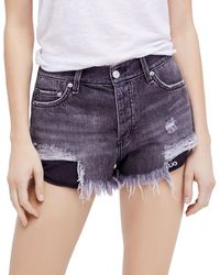 Free People - Loving Good Vibrations Denim Shorts In Black - Lyst