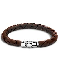 John Hardy - Men's Kali Silver Brown Woven Leather Bracelet - Lyst