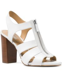 f69d819196f8 MICHAEL Michael Kors - Women s Damita Leather Zip High-heel Sandals - Lyst