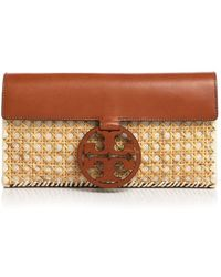 Tory Burch - Miller Rattan & Leather Clutch - Lyst