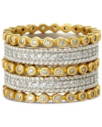 Freida Rothman - Classic Stacking Rings In Gold - Plated & Rhodium - Plated Sterling Silver - Lyst