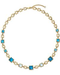 """Bloomingdale's - London Blue And Swiss Blue Topaz Geometric Necklace In 14k Yellow Gold, 16.5"""" - Lyst"""