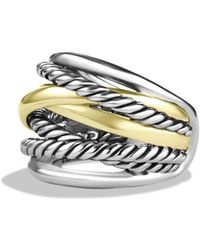 David Yurman - Crossover Wide Ring With Gold - Lyst
