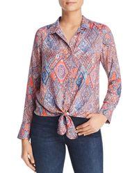 Tolani - Tile-print Tie-front Blouse - Lyst