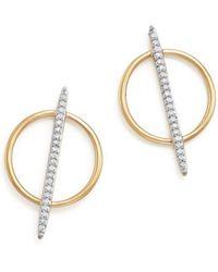 Bloomingdale's - Diamond Micro Pavé Geometric Earrings In 14k Yellow Gold, .20 Ct. T.w. - Lyst