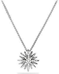 David Yurman - Diamond and Sterling Silver Starburst Pendant Necklacesmall - Lyst