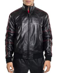 Sean John - Leather Bomber Jacket - Lyst
