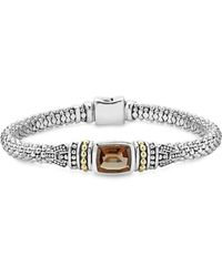 Lagos - 18k Gold And Sterling Silver Caviar Color Bracelet With Smoky Quartz - Lyst