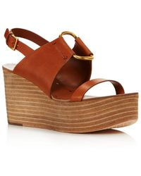 b8071a6c8 Lyst - Tory Burch Emmy Leather Wedge Sandals in Brown
