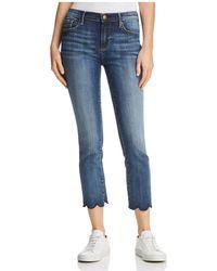 Aqua - Cropped Scallop-hem Jeans In Indigo - Lyst