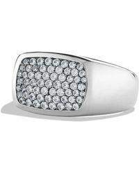 David Yurman - Pavé Signet Ring With Gray Sapphires - Lyst