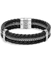 John Hardy - Sterling Silver Classic Chain Triple Row Black Leather Bracelet - Lyst