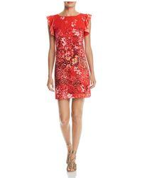 T Tahari - Tindra Printed Ruffle-trim Dress - Lyst