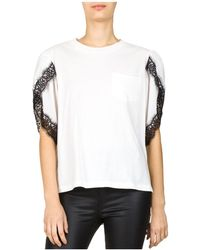 The Kooples - Lace-trimmed Petal-sleeve Top - Lyst