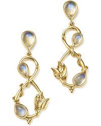 18k Yellow Gold Double Leaf Royal Blue Moonstone Earrings