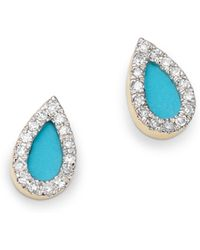 Adina Reyter - 14k Yellow Gold Turquoise Or Opal & Diamond Teardrop Stud Earrings - Lyst