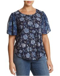 Lucky Brand - Mixed Media Floral Keyhole Top - Lyst