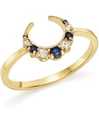 ICONERY | X Stone Fox Bride 14k Yellow Gold Crescent Sapphire And Diamond Ring | Lyst