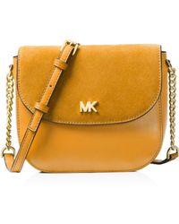 MICHAEL Michael Kors - Half Dome Medium Leather & Suede Crossbody - Lyst